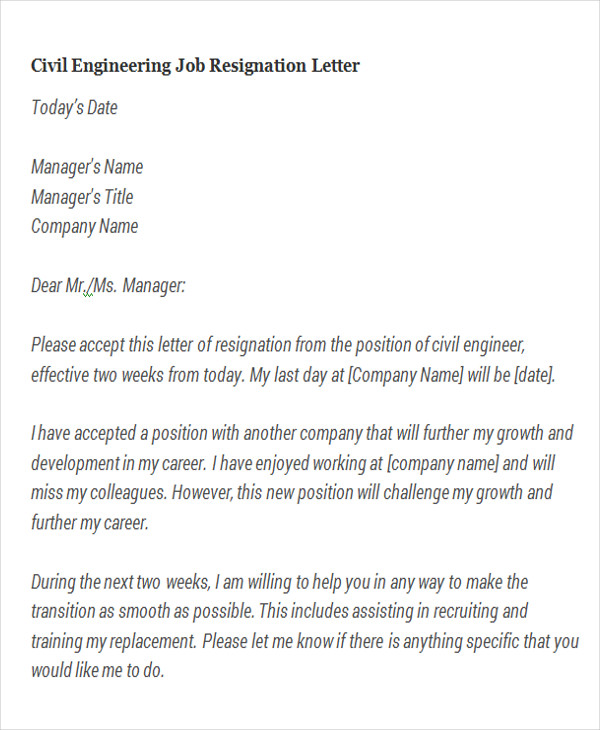 Resignation Letter For Engineer from images.sampletemplates.com