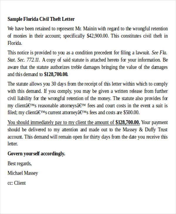 civil theft demand letter