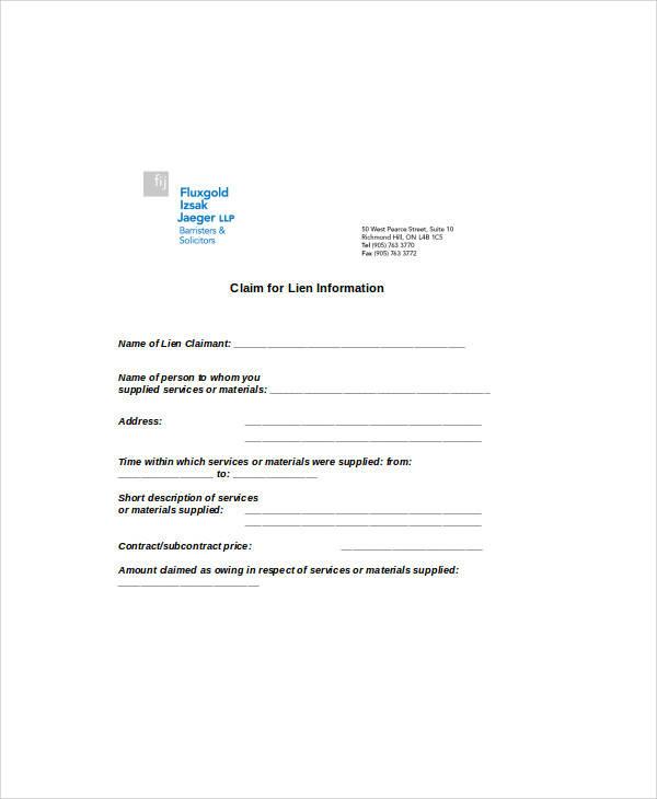 claim of lien info form