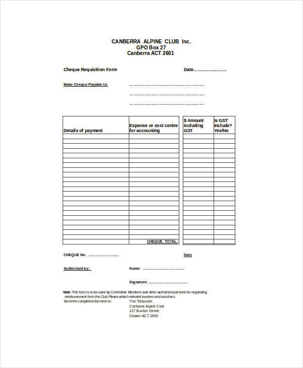 club cheque requisition form