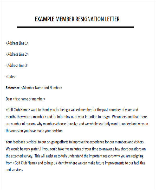 Sample Membership Resignation Letter - 7+ Examples In Pdf, Word