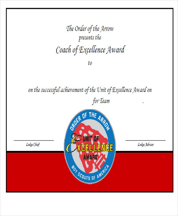 coach excellence award certificate