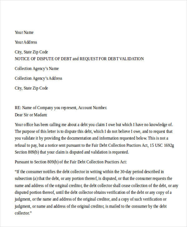 collection agency dispute letter
