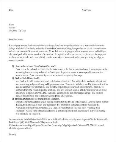 32 acceptance letters in pdf sample templates college admission acceptance letter altavistaventures Choice Image