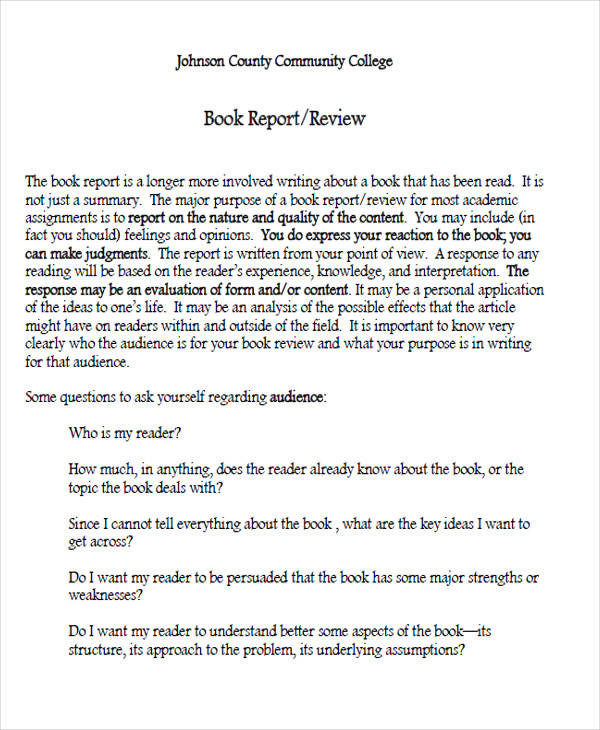 sample book report sample example format  college book report sample