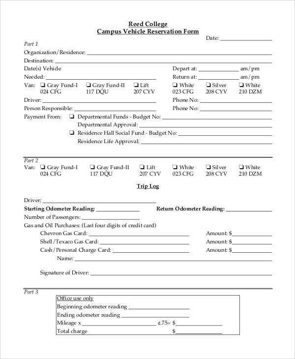 college campus vehicle reservation form