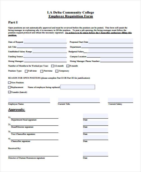 college employee requisition form