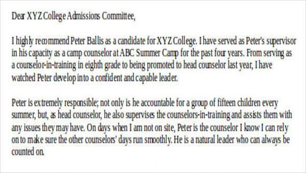 8 College Recommendation Letter Sample Free Sample