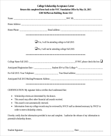 college scholarship acceptance letter