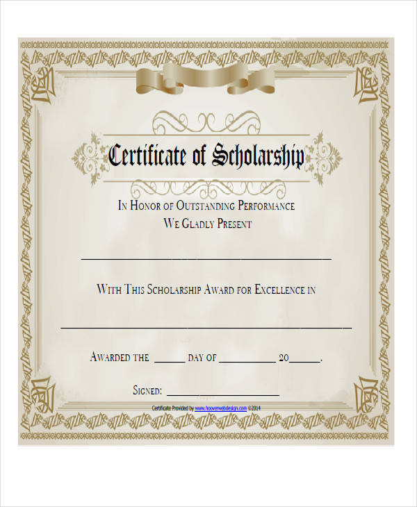 college scholarship award certificate1