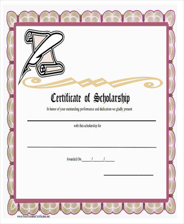 college scholarship award certificate2