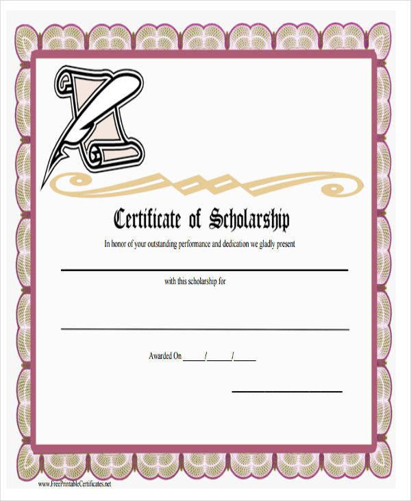 college scholarship award certificate3