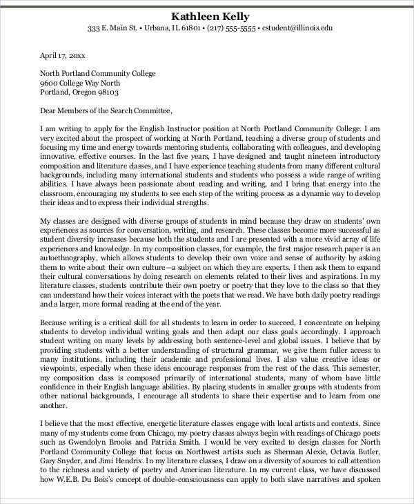 college student application letter