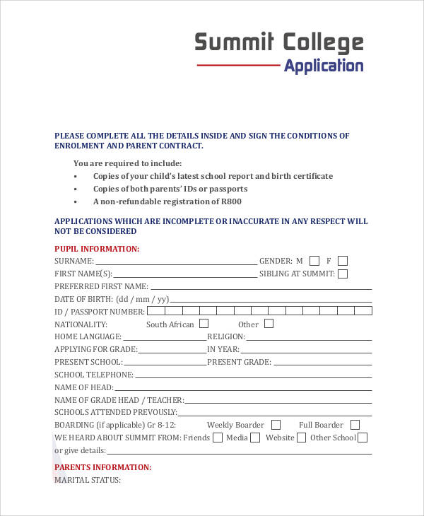 college summit application form