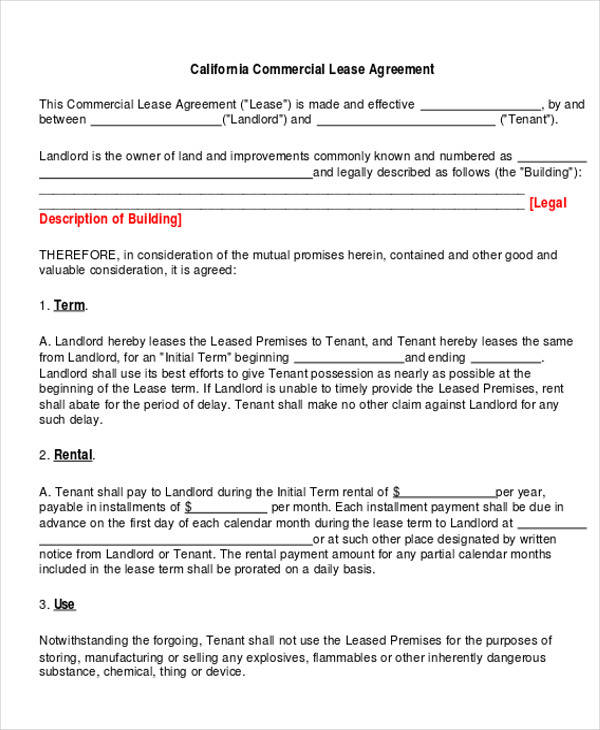 commercial business lease agreement form