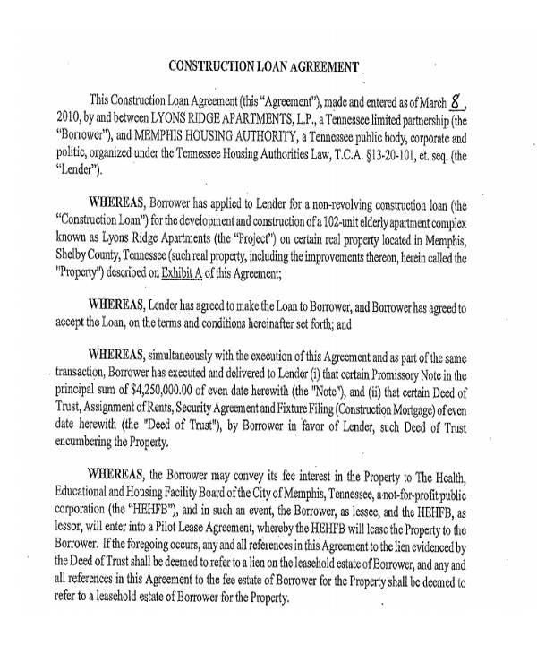 41 commercial agreement formats templates pdf doc commercial construction loan agreement platinumwayz