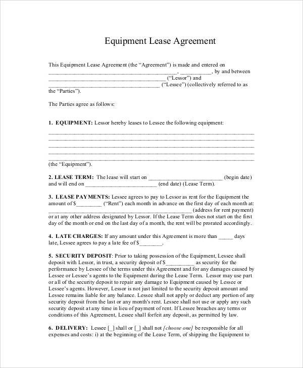 commercial equipment lease agreement