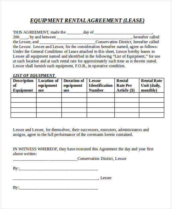 commercial equipment rental lease agreement3