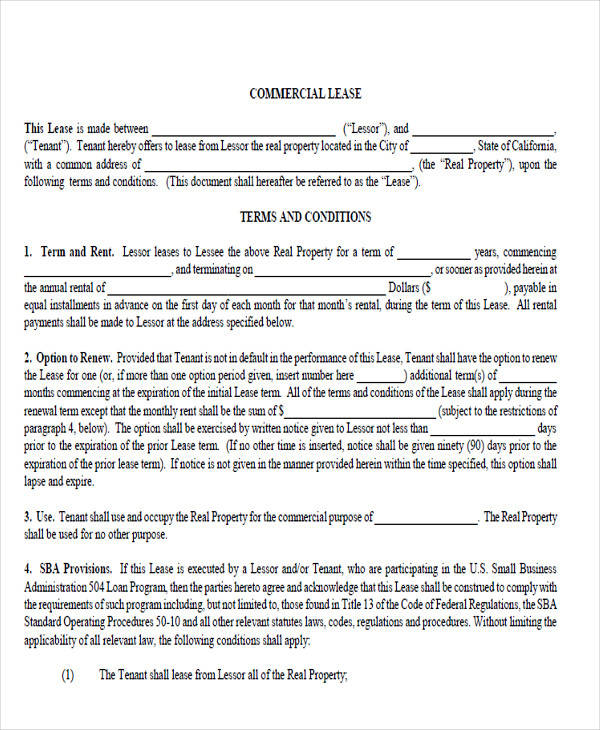 commercial lease agreement format2