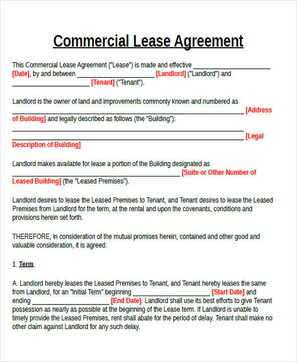 commercial lease agreement format3
