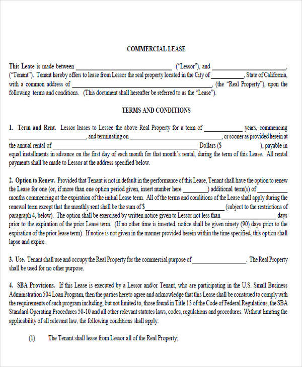 commercial lease agreement format5