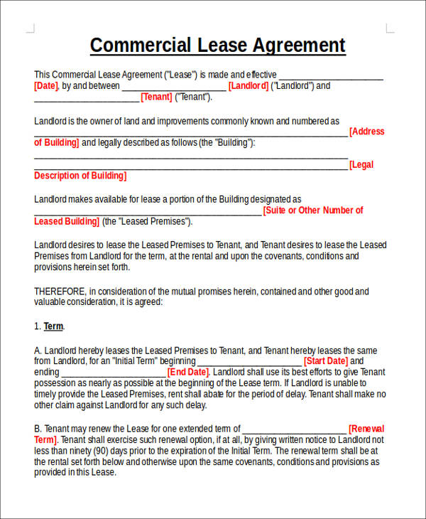 commercial lease agreement format6