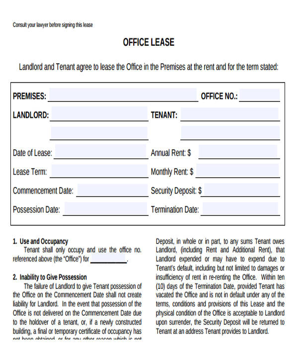 lease agreement for office space template - 33 commercial lease agreement samples sample templates
