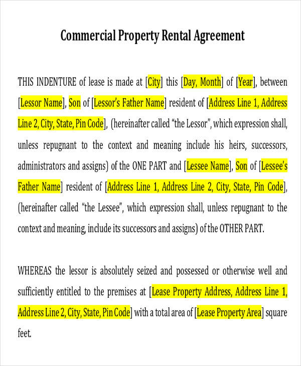 Commercial Agreement Example – Commercial Office Lease Agreement