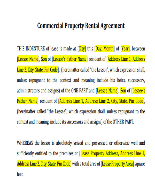 Commercial Property Rental Agreement  Commercial Rent Agreement Format