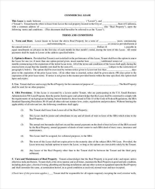 commercial rental lease agreement pdf
