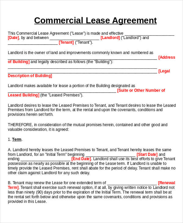 Commercial Business Form Commercial Lease Agreement Template Free