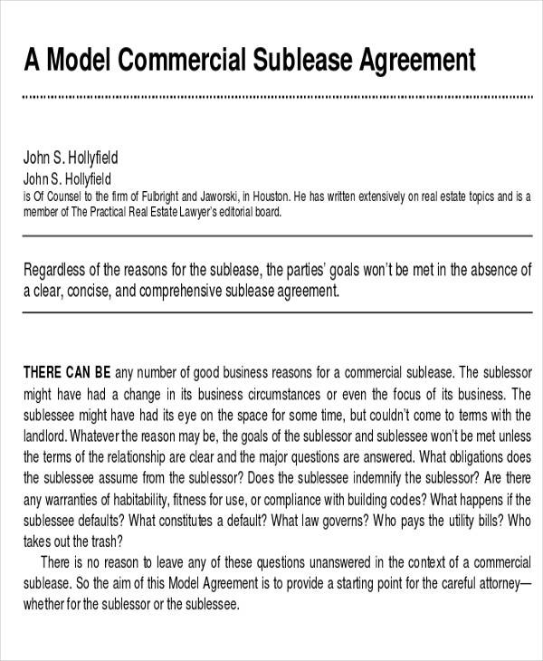 Commercial Agreement Examples  Samples  Pdf Doc