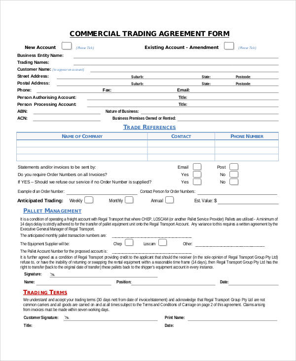 commercial trading lease agreement form