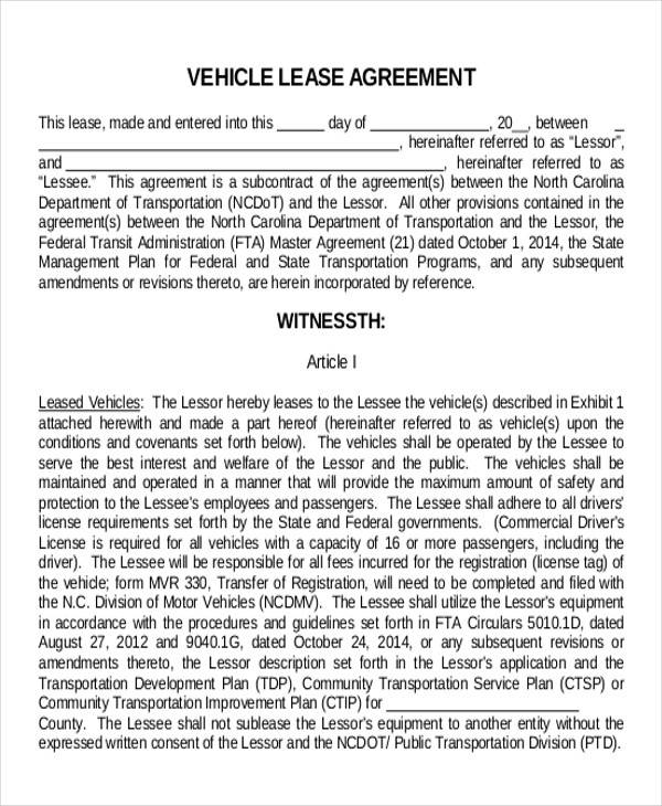 Truck Lease Agreement Sample   Examples In Word