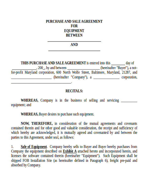 Commercial Agreement Format – Commercial Purchase Agreement
