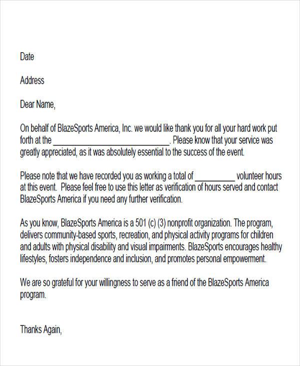 Community-Volunteer-Hours-Service-Letter Volunteer Hours Verification Letter Template on volunteer recommendation letter template, volunteer log, sample volunteer letter template,