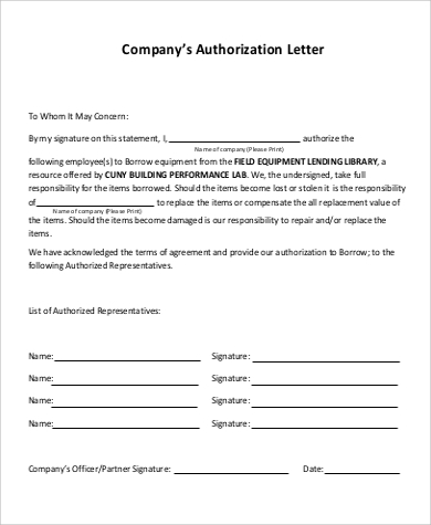 company agent authorization letter example