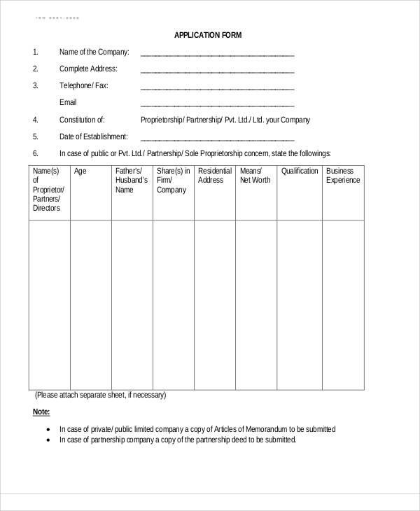 company application form sample
