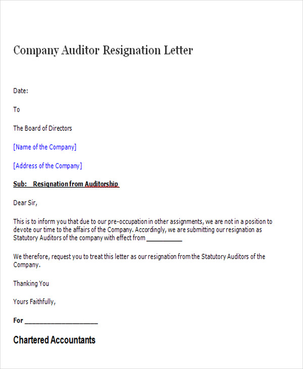 44 resignation letters in doc sample templates company auditor resignation letter4 spiritdancerdesigns Image collections