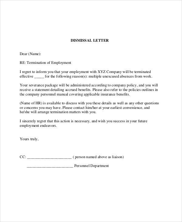 company employment termination letter