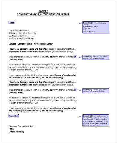 company vehicle authorization letter