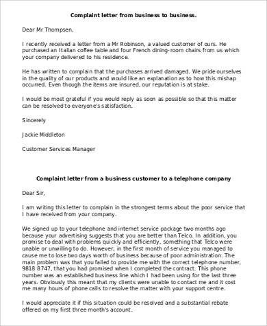 21 complaint letters in pdf sample templates complaint letter from business to business spiritdancerdesigns Image collections