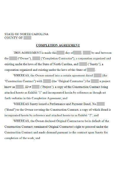 completion agreement form in ms word
