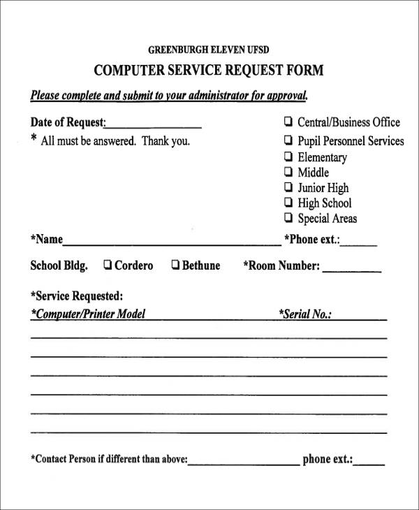 41 Service Forms in PDF – Computer Service Request Form