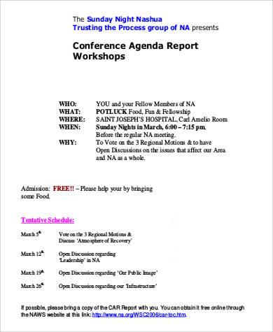 conference agenda report