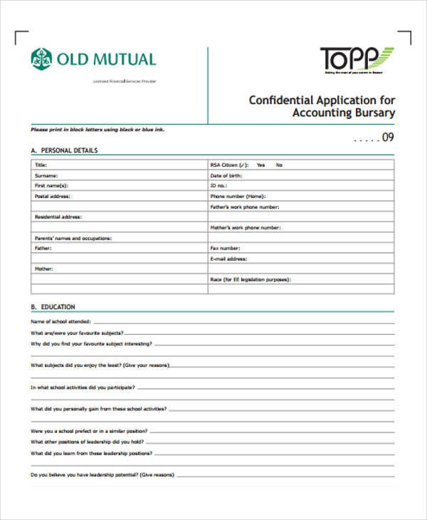 confidential application for accounting bursary1