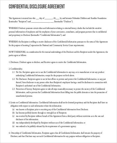 confidentiality disclosure agreement