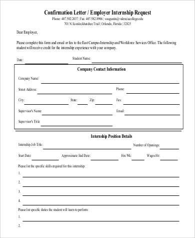 confirmation letter employer internship request