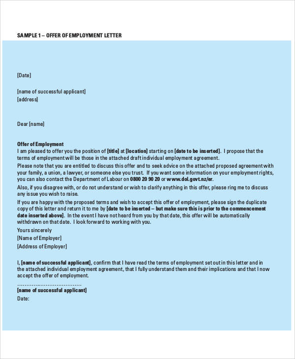 confirmation of employment offer letter