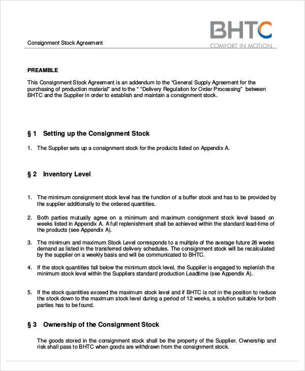 free consignment stock agreement template 65 simple agreements sample templates